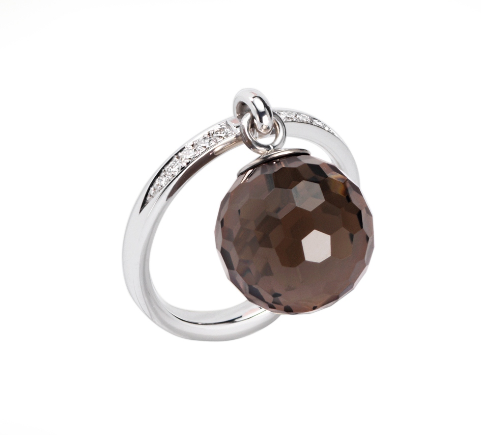 Ring with a smokey quartz and diamonds by Furrer Jacot