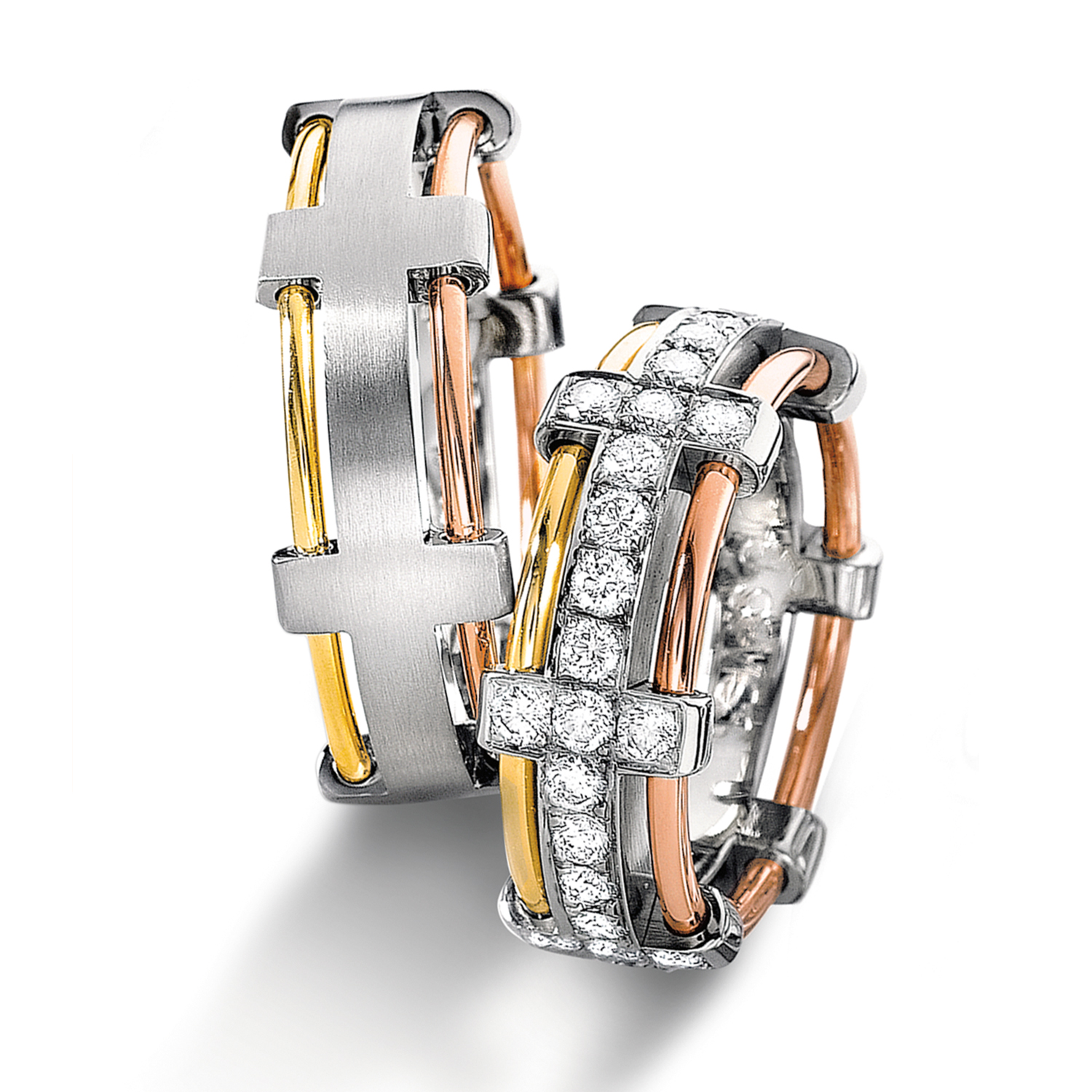 Diamond rings in gold, platinum, palladium, carbon and black with diamonds Furrer Jacot