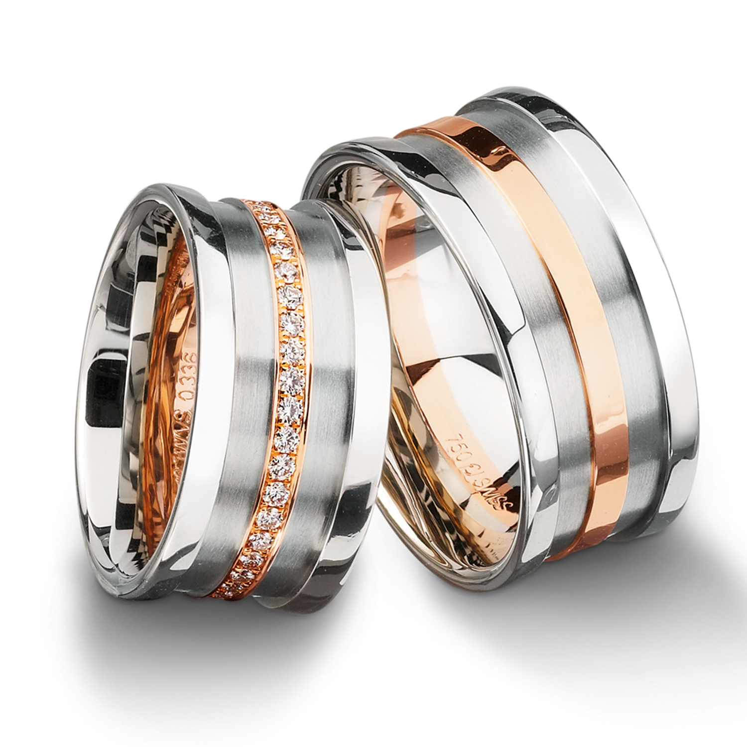 Diamond rings in gold, platinum, palladium and black with diamonds Furrer Jacot