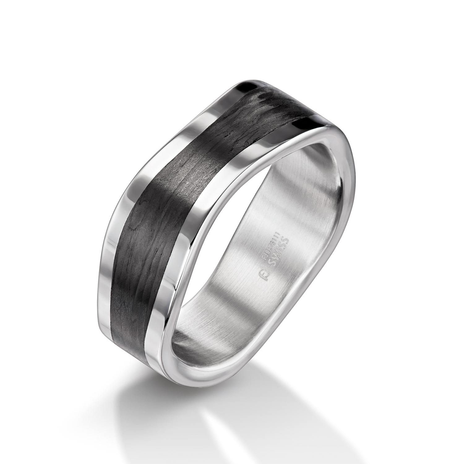 Man's world black wedding rings with carbon